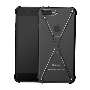 OATSBASF Creative X Shaped Metal Laser Carving Frame Case for iPhone 7 Plus 5.5 inch - Black