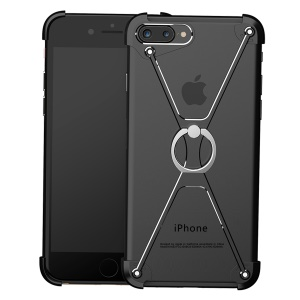 OATSBASF Laser Carving X Shaped Metal Frame Bumper with Grip Ring for iPhone 7 Plus 5.5 - Black