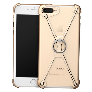 OATSBASF Creative X Shaped Hollow Metal Bumper Cover with Ring for iPhone 7 Plus 5.5 inch - Gold