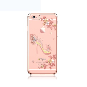 KAVARO for iPhone 6s 6 Crystals Decor Plated PC Cell Phone Case - Butterfly High-heeled Shoe