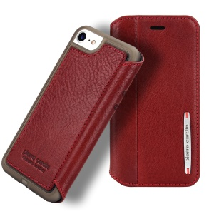 PIERRE CARDIN Litchi Texture Genuine Leather Card Slot Stand Mobile Case for iPhone SE (2nd generation)/8/7 4.7 inch - Red