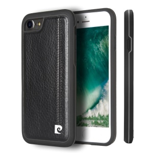 PIERRE CARDIN for iPhone 8/7 Stitched Genuine Leather Coated TPU + PC Hybrid Shell - Black