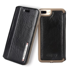 PIERRE CARDIN Litchi Texture Genuine Leather Card Slot Stand Case for iPhone 8 Plus / 7 Plus 5.5 inch - Black