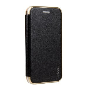 CMAI2 Sea Shell Style Card Slot Leather Flip Phone Case with Stand for iPhone 6s 6 - Black
