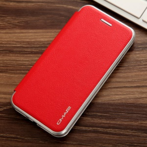 CMAI2 Leather Card Holder Flip Cover para iPhone 7 4.7 - vermelho