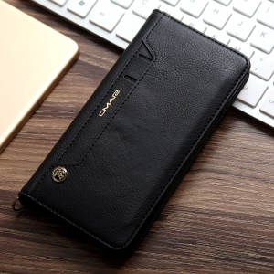 CMAI2 Litchi Grain Auto-absorbed Leather Wallet Phone Case for iPhone 8 Plus / 7 Plus 5.5 inch - Black