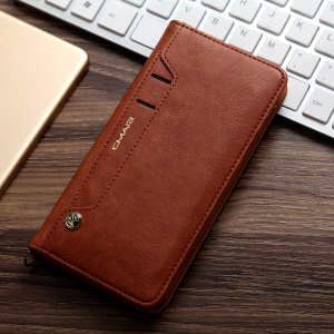 CMAI2 for iPhone 8 Plus / 7 Plus Litchi Grain Auto-absorbed Leather Cover with Multiple Card / Photo Slots - Brown