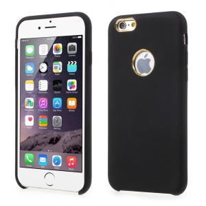 Silky Liquid Silicone Mobile Case for iPhone 6s/6 4.7 (Gold Cutouts) - Black