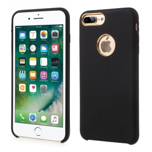 Liquid Silicone Silky Phone Case for iPhone 7 Plus 5.5 (Gold Cutouts) - Black