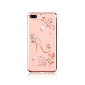 KAVARO Crystals Decor Plated Hard Back Case for iPhone 7 Plus - Butterfly High-heeled Shoe