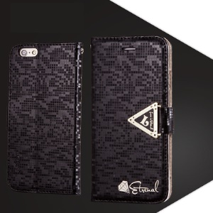Diamond Texture Leather Card Slots Mobile Case with Triangle Magnetic Strap for iPhone 6s 6 - Black