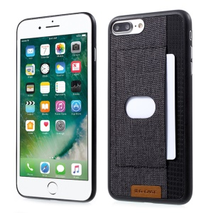 G-CASE Canvas Coated PC Card Holder Case for iPhone 7 Plus with Magnetic Holder Metal Sheet - Black
