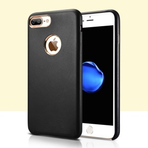 XOOMZ Plating Lambskin Genuine Leather Coated PC Back Case for iPhone 7 Plus 5.5 inch - Black