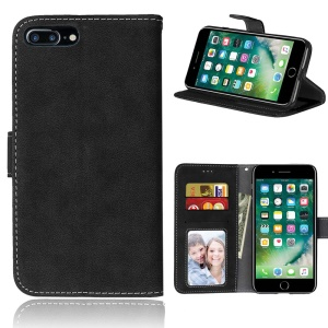 Vintage Style Matte Wallet Leather Phone Cover for iPhone 7 Plus - Black