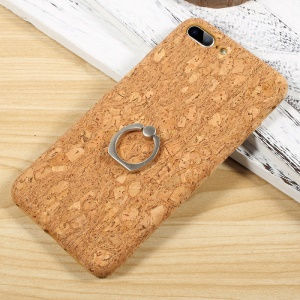 COOYA Ring Holder Natural Wooden Coated PC Hard Case for iPhone 7 Plus - Style A