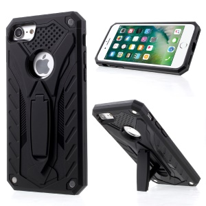 Drop-proof Rugged PC + TPU Hybrid Case with Kickstand for iPhone 8 / iPhone 7 4.7 inch - Black