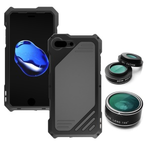 Shockproof Dirt-proof Case with Interchangeable Lens for iPhone 8 Plus / 7 Plus 5.5 inch - Black