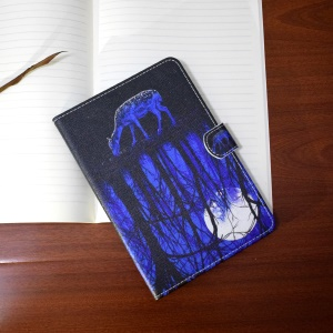 Patterned Leather Case Stand Wallet for iPad 4/3/2 - Sika Deer and Moonlight Reflection
