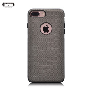 EDIVIA Cloth Texture PU Leather Coated PC + TPU Combo Case with Built-in Metal Sheet for iPhone 7 Plus - Grey