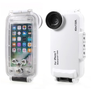 MEIKON 40m/130ft Underwater Case IPX8 Waterproof Diving Case for iPhone 7 4.7 inch - White