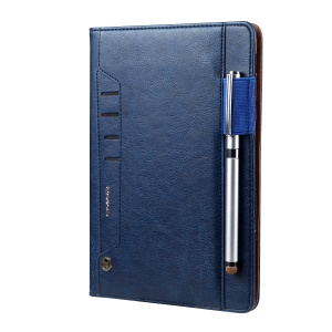 CMAI2 Leather Flip Cover with Photo/Card Slots for iPad Mini 4 - Dark Blue