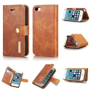 DG.MING Detachable 2 in 1 Split Leather Wallet Cell Phone Case for iPhone SE / 5s / 5 - Brown