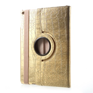 360 Degree Rotary Stand Leather Flip Case for iPad 9.7 (2017) - Crocodile Texture / Gold