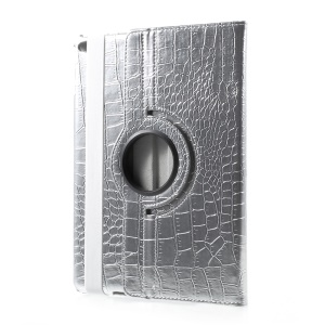 PU Leather 360 Degree Rotary Stand Case for iPad 9.7 (2017) - Crocodile Texture / Silver