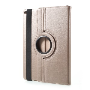 360 Degree Rotary Stand Leather Stand Cover for iPad 9.7 (2017) - Litchi Texture / Gold