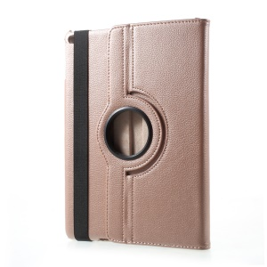 PU Leather 360 Degree Rotary Stand Shell for iPad 9.7 (2017) - Litchi Texture / Rose Gold
