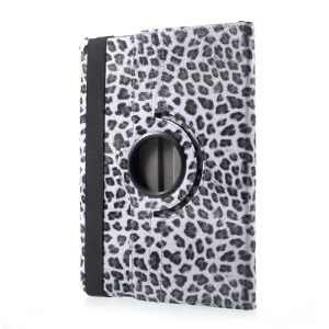360 Degree Rotary Stand Leather Tablet Case for iPad 9.7 (2017) - Leopard Pattern / Grey