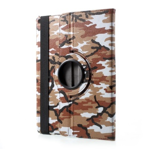 360 Degree Rotary Stand PU Leather Folio Cover for iPad 9.7 (2017) - Camouflage Pattern / Brown