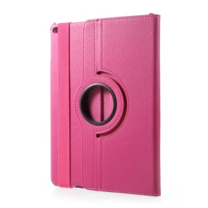 For iPad 9.7 (2018) / 9.7 (2017) / Air 2 / Air 360 Degree Rotary Litchi Grain Stand Leather Protective Case - Rose
