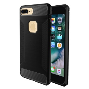Carbon Fibre Texture Anti-skid Brushed Thin TPU Cell Phone Case for iPhone 7 Plus 5.5 inch - Black