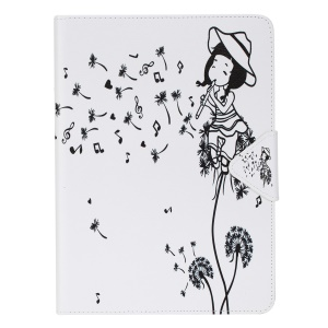 Pattern Printing Leather Wallet Stand Case for iPad Pro 9.7 inch - Girl Playing Flute