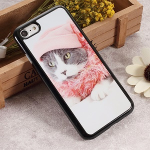 2D Heat Transfer Printing Aluminum Sheet Skin PC Moblie Casing for iPhone 6s / 6s - Dressed Cat