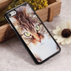2D Heat Transfer Printing Aluminum Sheet Skin PC Cellphone Case for iPhone 6s / 6s - Big Eyes Brown Cat