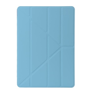 Smooth Surface Smart Leather Cover with Y Shape Origami Stand for iPad 9.7 (2018) / 9.7 (2017) - Blue