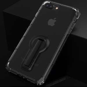 BOW Shock Absorption Clear Soft TPU Case with ABS Kickstand for iPhone 8 Plus / 7 Plus 5.5 inch - Black