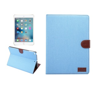 Jeans Cloth PU Leather Protection Wallet Stand Case for iPad 9.7 inch (2017) / iPad Air 2 /iPad Air - Baby Blue