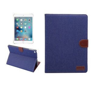 Jeans Cloth PU Leather Protection Card Holder Stand Cover for iPad 9.7 inch (2017)  / iPad Air 2 /iPad Air - Dark Blue