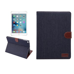 Jeans Cloth PU Leather Protection Stand Shell with Card Slots for iPad 9.7 inch (2017)  / iPad Air 2 /iPad Air - Black Blue