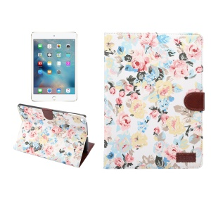 Smart Leather Case Flowers Cloth Skin Cover Card Holder Wallet for iPad Pro 9.7 inch / Air 2 / Air - White Background