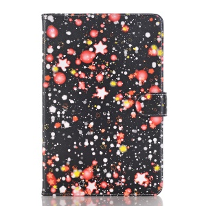 For iPad mini 4 Starry Sky Patterning Stand Leather Wallet Phone Case - Red