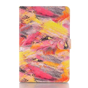 Graffiti Pattern Stand Leather Card Holder Flip Cover for iPad mini 4 - Red Tone