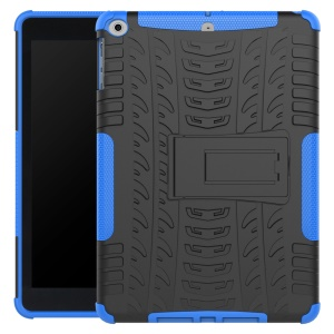 2-in-1 Tyre Pattern Hybrid PC + TPU Kickstand Shell for iPad 9.7 (2017) - Blue