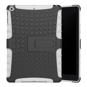 Anti-slip Tire Pattern Kickstand PC TPU Hybrid Protector Case for iPad 9.7 (2018) / 9.7 (2017) - White