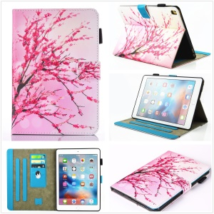 For iPad Pro 9.7 inch Pattern Printing Leather Card Holder Stand Case - Plum Blossom