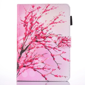 For iPad 9.7 (2017) Pattern Printing Leather Card Holder Tablet Case - Plum Blossom