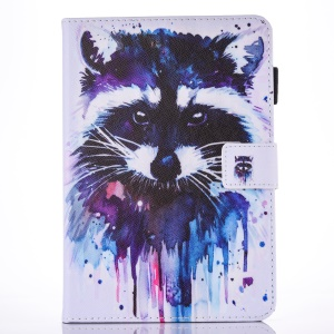 Patterned Leather Card Holder Folio Stand Cover for iPad 9.7 (2017) - Watercolor Painting Racoon